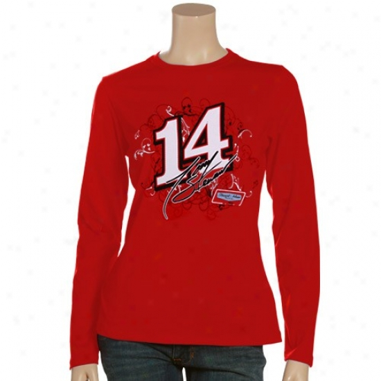 Tony Stewart Apparel: #14 Tony Stewart Ladies Red Cosmic Long Sleeve T-shirt
