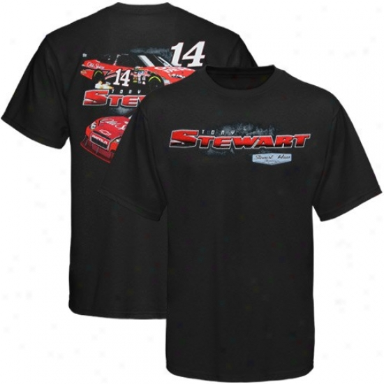 Tony Stewart Apparel: #14 Tony Stewart Youfh Black Car View T-shirt