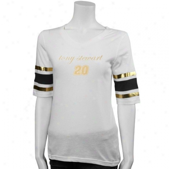 Tony Stewart Apparel: Tony Stewart Ladies White Greatest Play Fabric Top