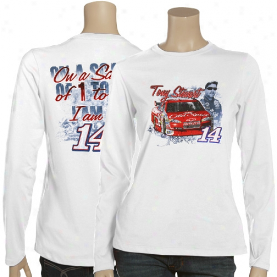 Tony Stewart Attire: #14 Tony Stewart Ladies White I'm A 14 T-shirt