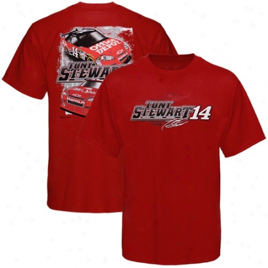 Tony Stewart Attire: #14 Tony Stewart Red Front To Back T-shirt