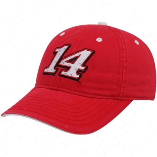 Tony Stewart Cap : #14 Tony Stewart Ladies Red Rhinestone Adjustable Cap