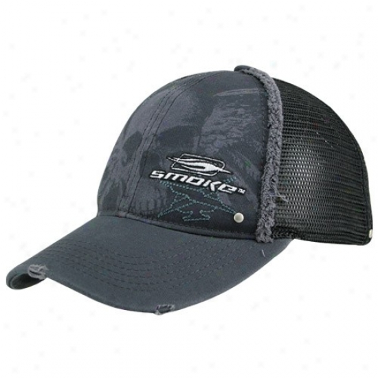 Tony Stewart Caps : #14 Tony Stewart Black Smoke Trucker Adjustable Czps