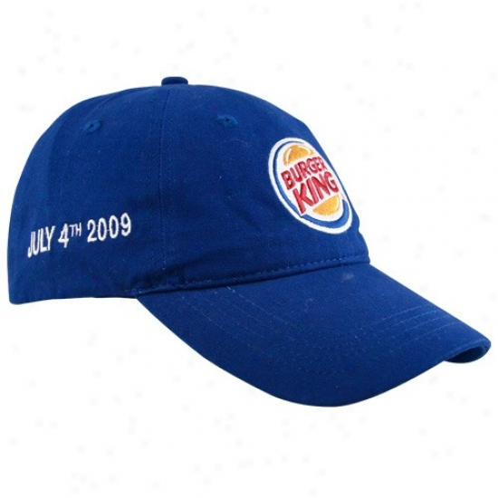 Tony Stewart Caps : #14 Tony Stewart Royal Blue Daytona Win Burger King Adjustable Caps