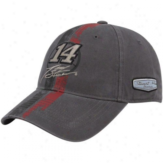 Tony Stewart Hats : #14 Tony Stewart Charcoal Speedway Legend Adjustable Hats