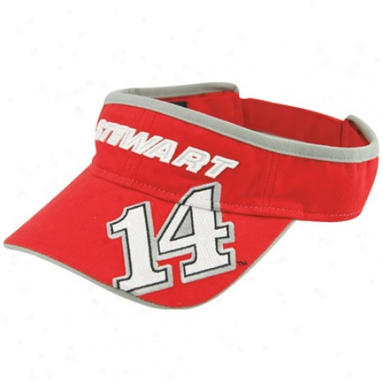 Tony Stewart Hats : #14 Tony Stewart Red Full Glory Visor