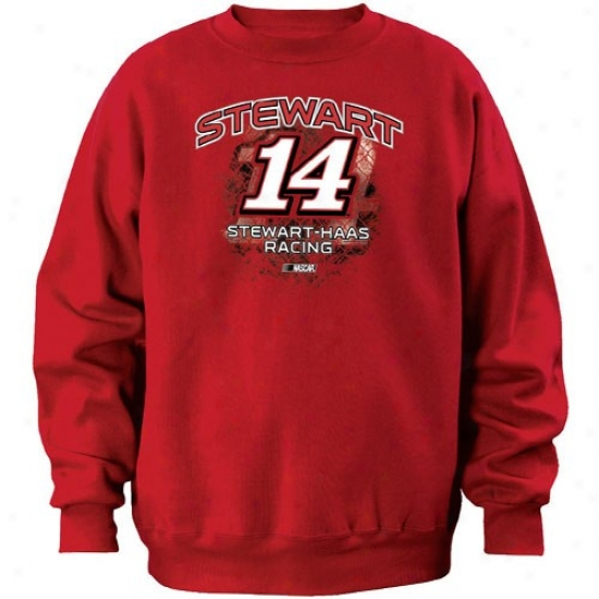 Tony Steeart Hoodies : #14 Tony Stewart Red Aero Push Crew Hoodies
