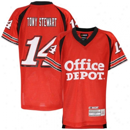 Tony Stewart Jerseys : #14 Tony Stewart Youth Red Replica Mesh Football Jerseys