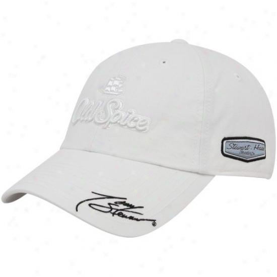 Tony Stewart Merchandise: #14 Tony Stewart White Tonal Sponsor Adjustable Slouch Hat