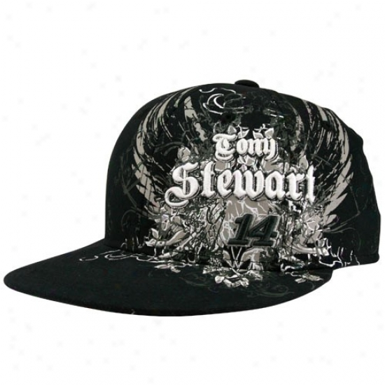 Tony Stewart Merchandise: #14 Tony Stewart Youth Black Nascar Flair Flex Fut Hat