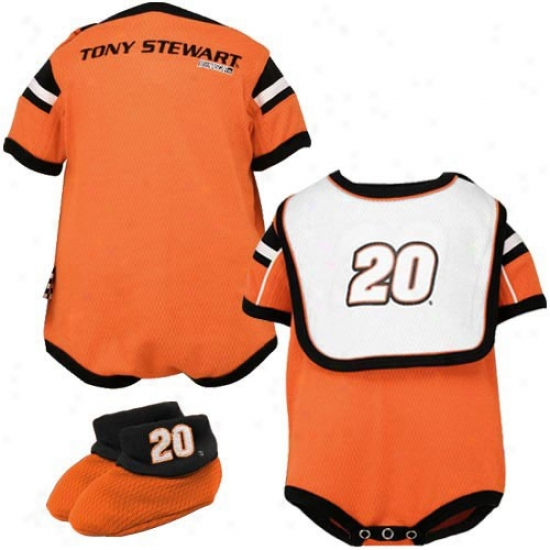 Tony Stewart Orange Infant Speedway Mesh Bib & Booties Concrete