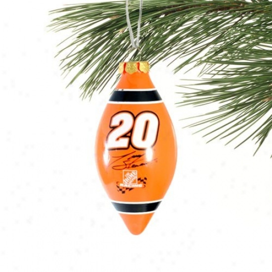 Tony Stewrat Orange Teardrop Glass Ornament