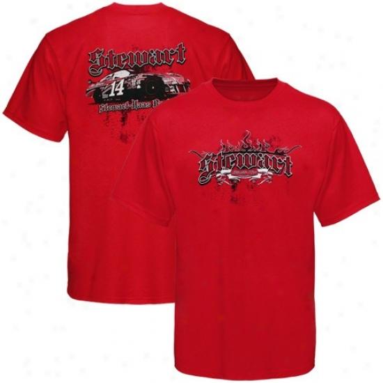 Tony Stewart Shirt : #14 Tony Stewart Red Gothic Shirt
