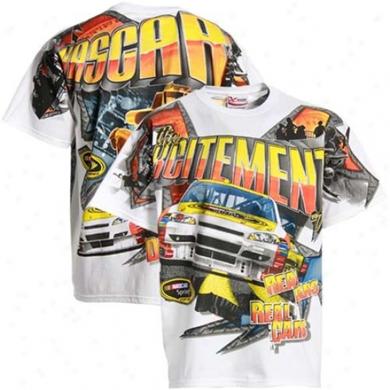 Tony Stewart Shirt : Nascar White Comic Prinr Shirt
