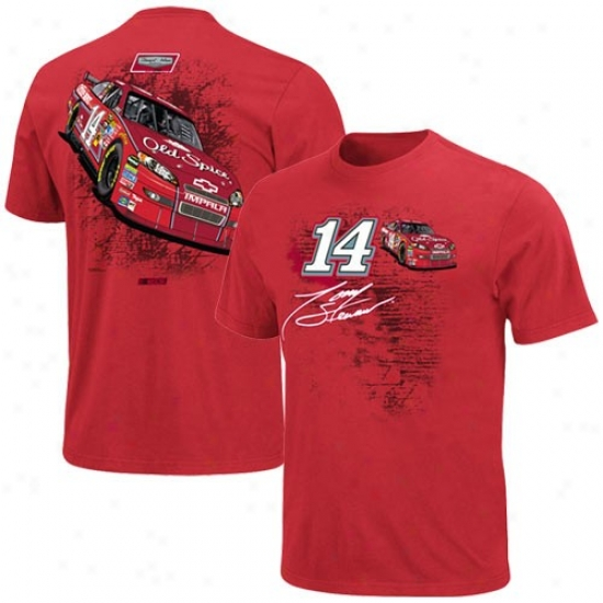 Tony Stewart Shirts : #14 Tony Stewart Red Back Straightaway Shirts