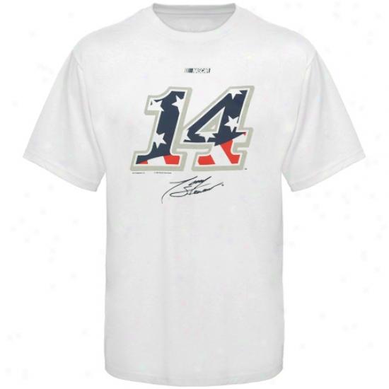 Tony Stewart Shirts : #14 Tony Stewart White American Spirit Shirts