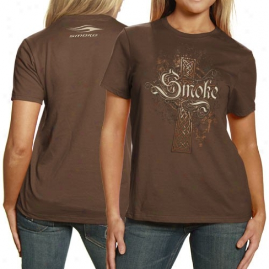 Tony Stewart Shirts : Smoke By Tony Stewart Ladies Brown Cross Shirts