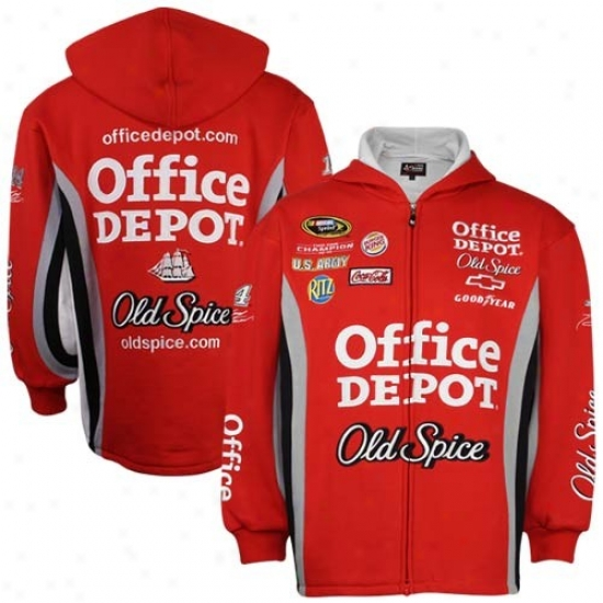 Tony Stewart Sweatshirts : #14 Tony Stewart Red Uniform Full Zip Sweatshirts
