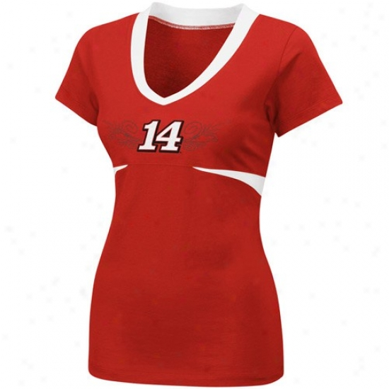 Tojy Stewart T Shirt : #14 Tony Stewart Ladies Red Chick Flick Premium V-neck T Shirt