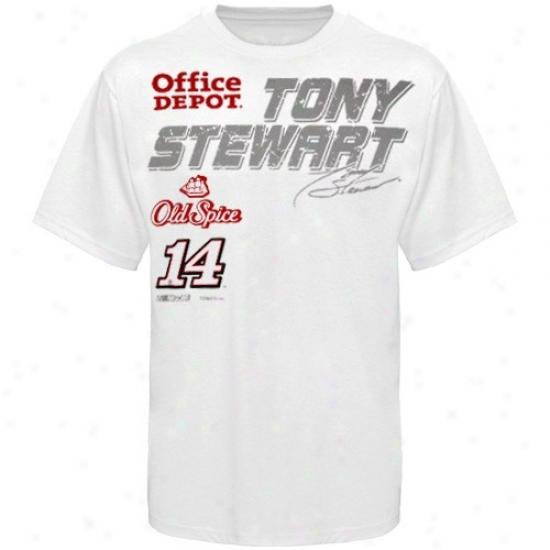 Tony Stewart T Shirt : #14 Tony Stewart White uFel Cell T Shirt
