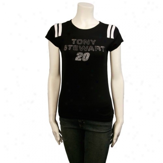 Tony Stewart T-shirt : #20 Tony Stewart Black Ladies Fan Flare T-shirt