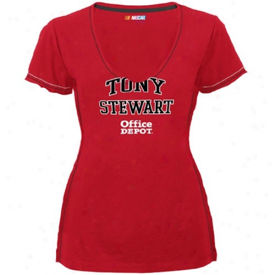 Tony Stewart Ted : #14 Tony Stewart Ladies Red All My Heart Premium V-neck Tee