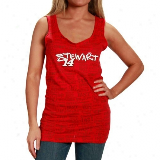 Dunce Stewart Tee : #14 oTny Stewart Ladies Red Speed Tank Top