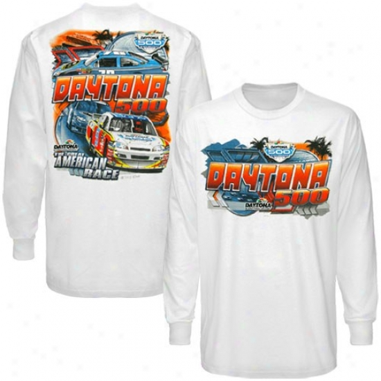 Tony Stewart Tee : Nascar Daytona 500 Schedule Whiite Long Sleeve Tee