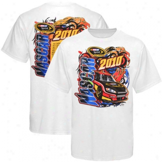 Tony Stewart Tee : Nazcar White 2010 Sprint Cup Series Schedyle Tee
