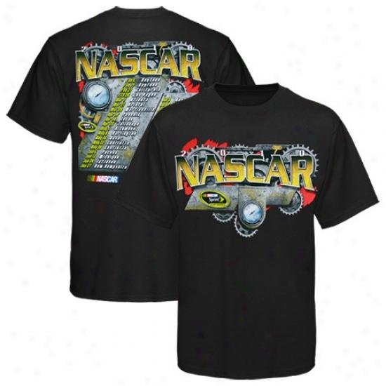 Tony Stewart Tees : Nascar Black Gears 2010 Sprint Cup Series Schedule Tees