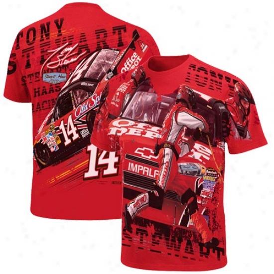 Tony Steqart Tshirt : #14 Tony Stewart Red Oversize Premium Tshirt