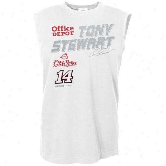 Tony Stewart Tshirt : #14 Tony Stewart White Fuel Cell Sleeveless Tshirt