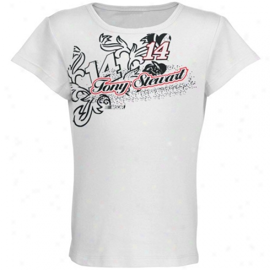 Tony Stewart Tshirt : #14 Tony Stewart Youth Girls White Coral Racer Tshirt