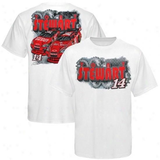 Tony Stewart Tshirt : #14 Tony Stewart Youth White Gearhead Tshirt
