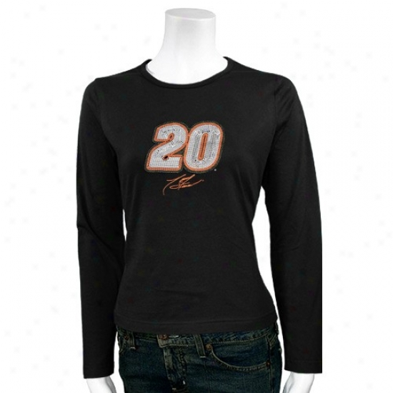 Tony Stewart Tshirt : #20 Tony Stewart Ladies Black Level Of Desire Long Sleeve Tshirt