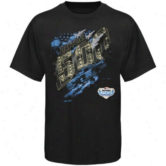 Tony Stewartt Tshirt : Nascar Daytona 500 Black Heavy Duty Performance Tshirt