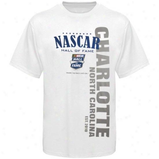 Tony Stewart Tshirt : Nascar White Hall Of Fame Charlotte Tshirt