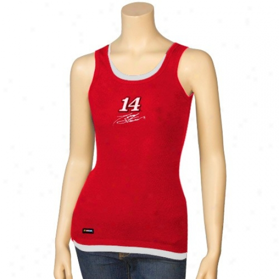 Tony Stewart Tshirts : #14 Tony Stewart Ladies Red Harmony Layered Tank Top
