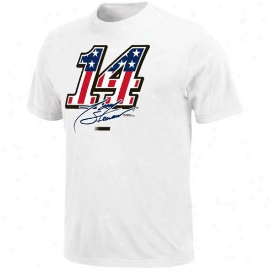 Tony Stewart Tshirts : #14 Tony Stewart White Stars & Stripes Tshirts