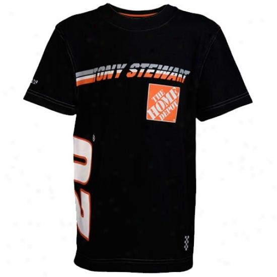 Tony Stewart Tshirts : #20 Tony Stewart Youth Black Speedway Tshirts