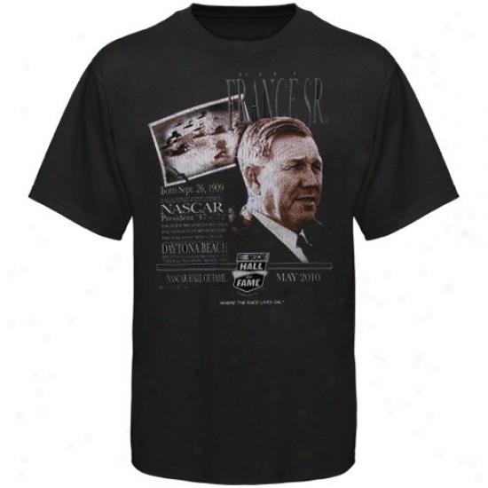 Tony Stewart Tshirts : Bill Franec Sr. Black 2010 Nascar Hall Of Fame Racer Tshirts