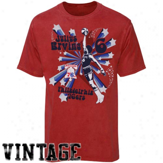 76ers Apparel: 76ers Julius Erving Red Respected Vintage T-shirt