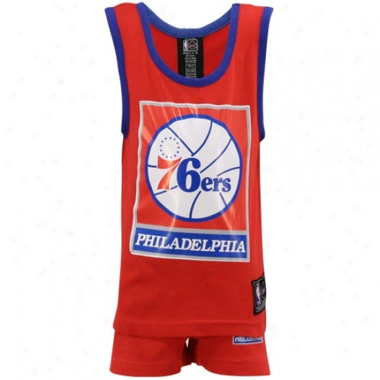 76ers Atire: 76ers Youth Red 2-piece Pajama Set