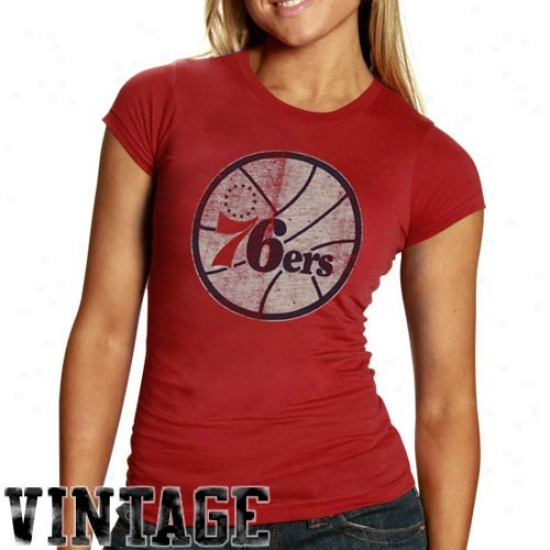 76ers A5tire: Banner '47 76ers Ladies Heather Red Distressed Logo Garment Washed Premium T-shirt