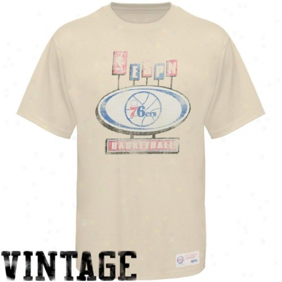 76ers Dress: Sportiqe-espn 76ers Cream Pancakes Distressed Premium T-shirt