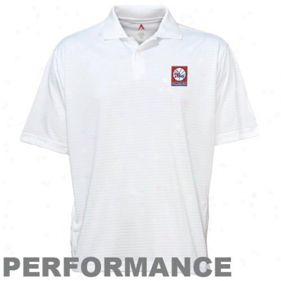 76ers Clothing: Antigua 76ers White Unlimited Control Performance Polo