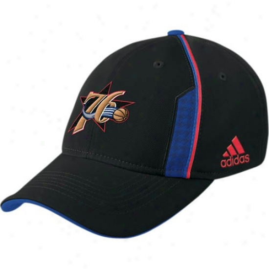 76ers Gear: Adidas 76ers Black Official Team Flex Fit Hat