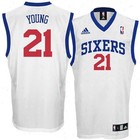 76rs Jersye : Adidas 76ers #21 Thaddeus Young White Autograph copy Basketball Jersey