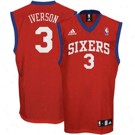76ers Jersey : Adidas 76ers #3 Allen Iverson Young men Red Swingman Replica Jersey