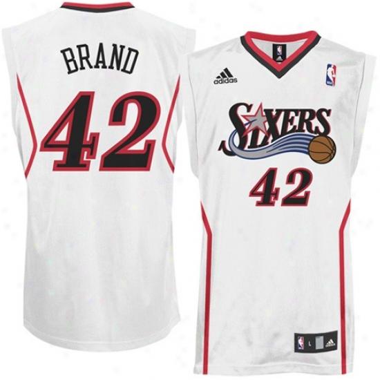 76ers Jerseys : Adidas 76ers #42 Elton Brand White Replica Basketall Jerseys